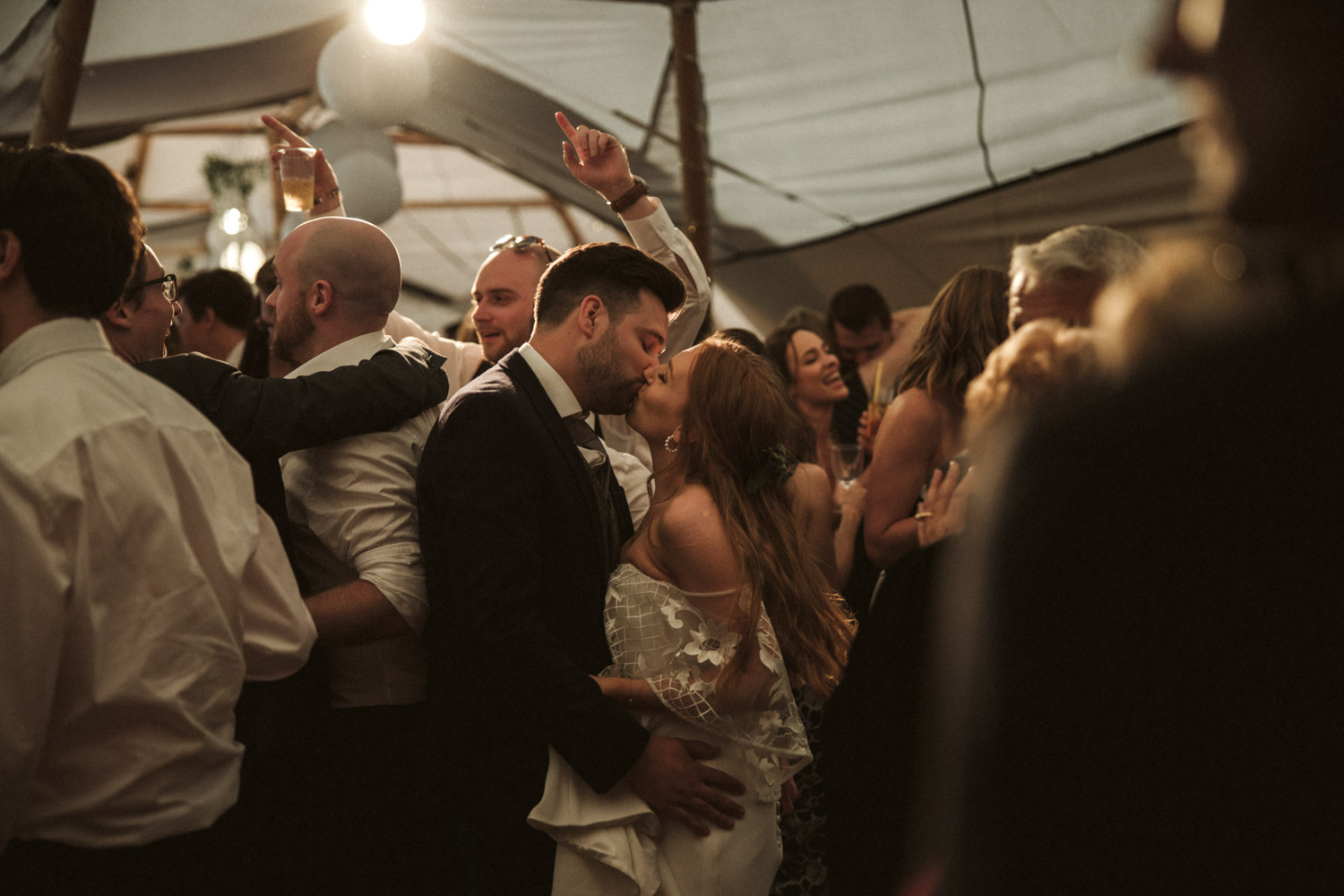 the couple share a moment on the dance floor