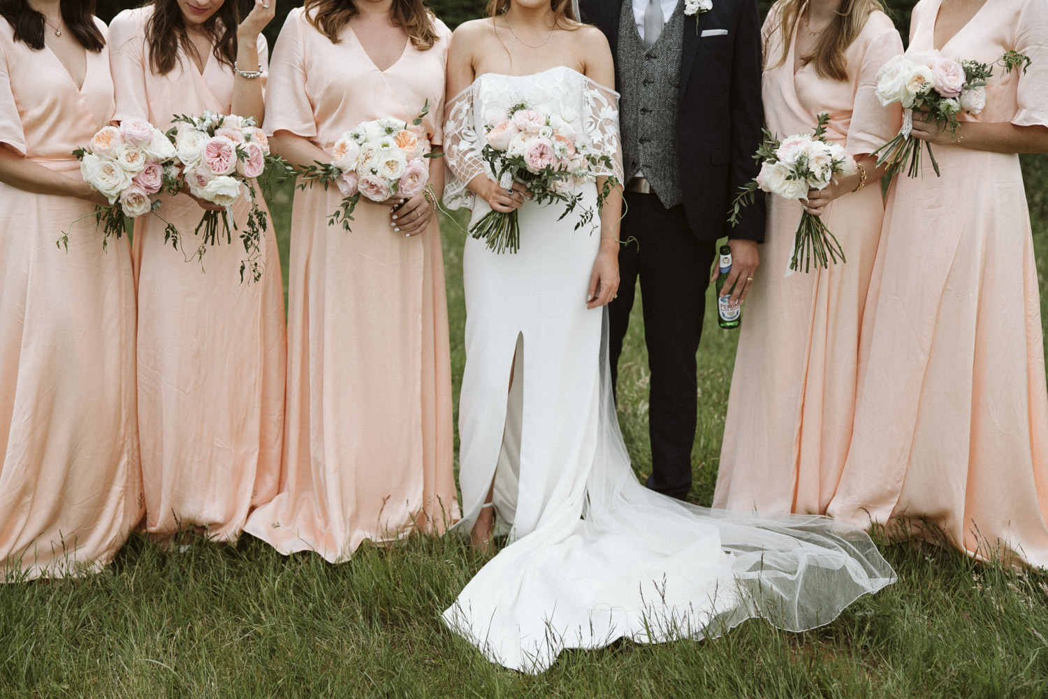 the bride and bridesmaids gowns
