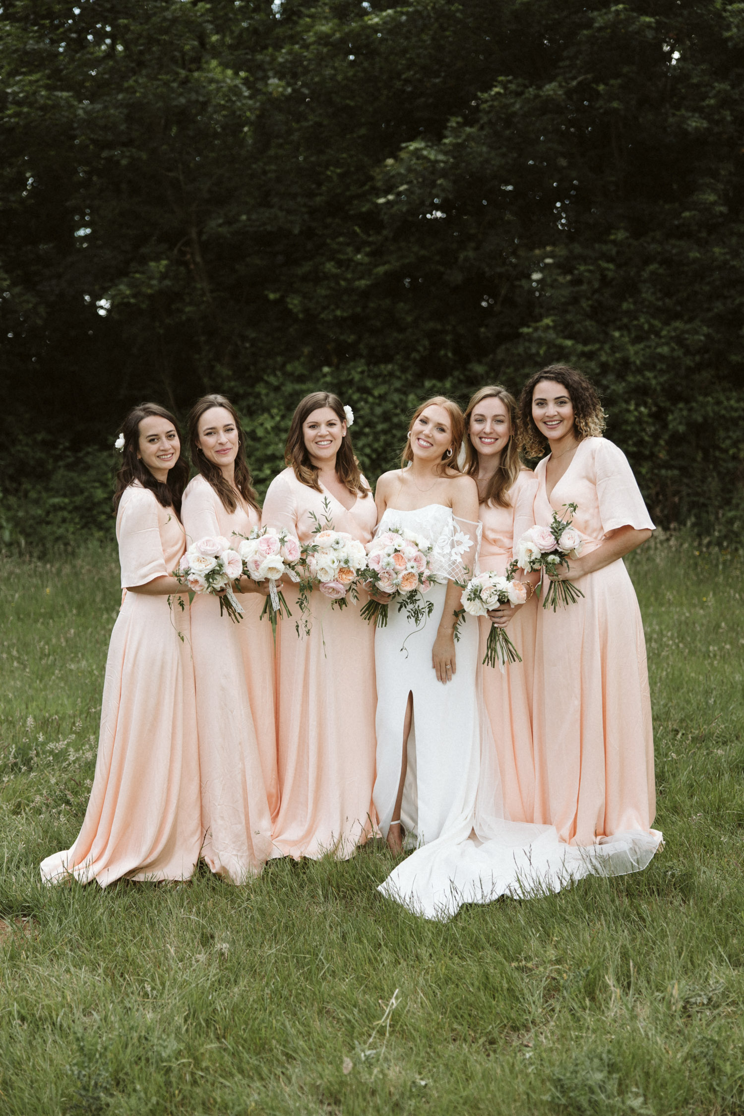 a portrait of the bride and bridesmaids