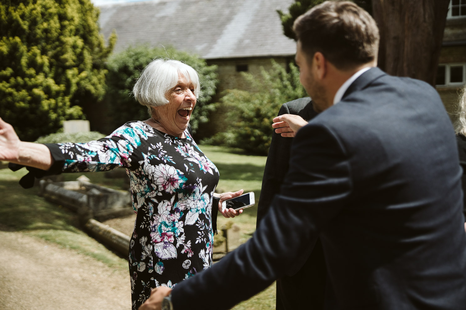 the groom about to hug his gran