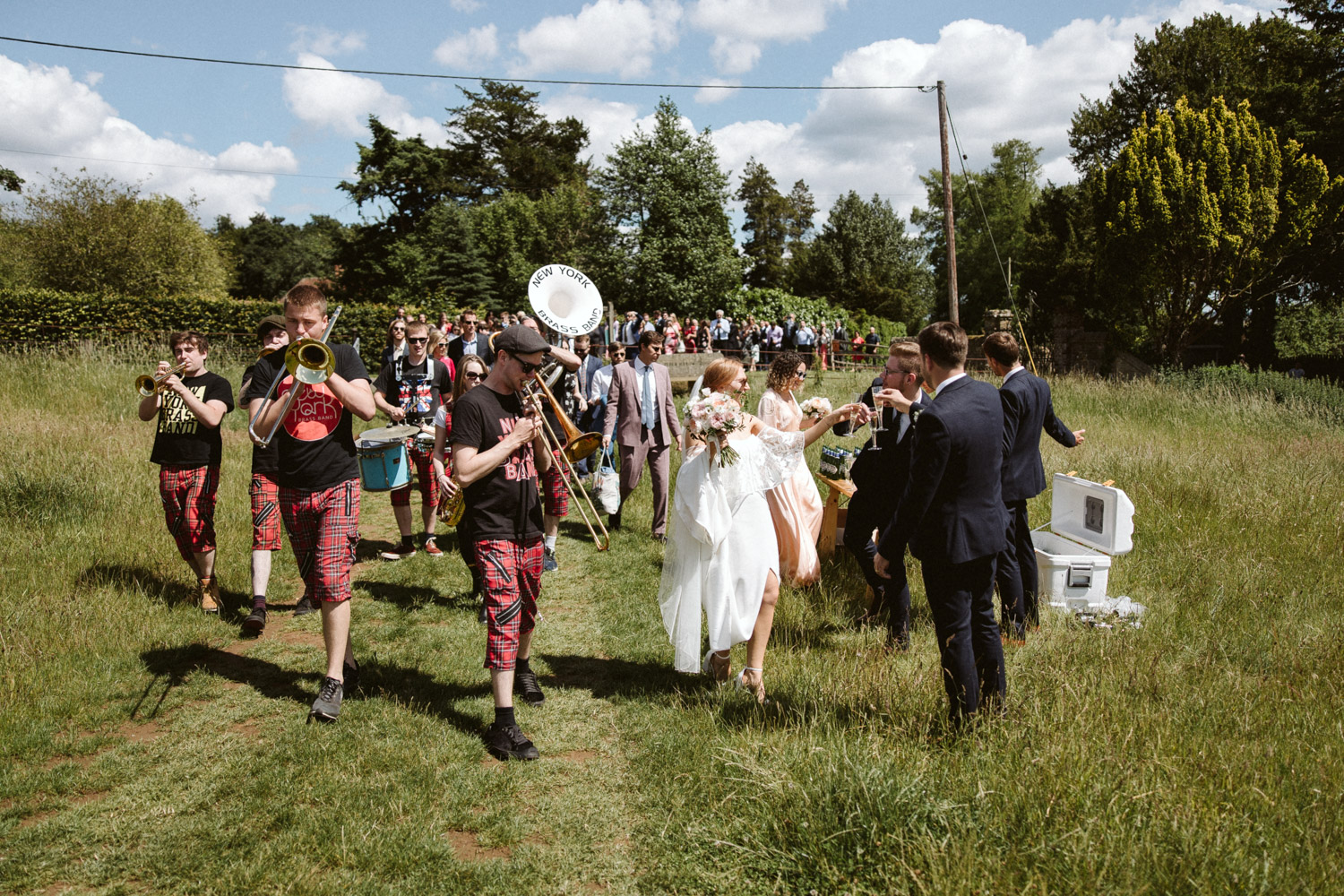 everyone prepares to walk down the hills to the tipi