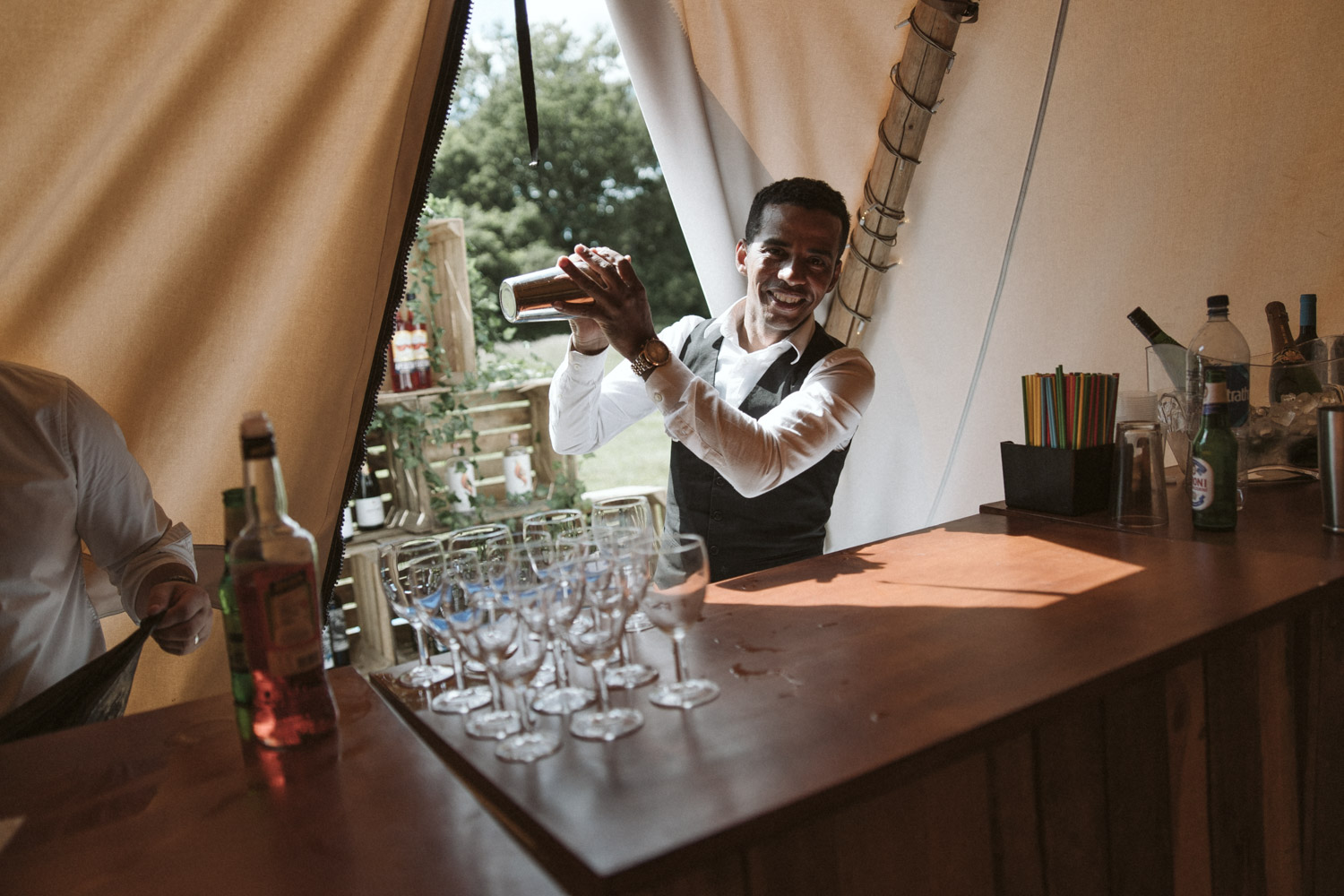 the barman in the tipi